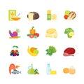 Cartoon Color Healthy Food Set. Vector