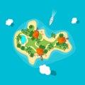 Cartoon Color Island in Ocean. Vector Royalty Free Stock Photo