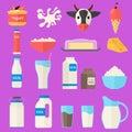 Cartoon Color Milk Products Icons Set. Vector