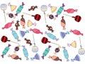 stock image of  Cartoon colored art set doodle candy lolipop caramel sweet sugar