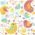 Cartoon colorful birds with dots and lines. Seamless vector pattern