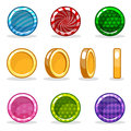 Cartoon colorful glossy Coin set, game animation Royalty Free Stock Photo