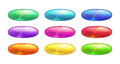 Cartoon colorful glossy oval buttons set. Royalty Free Stock Photo