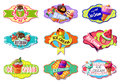 Cartoon Colorful Ice Creams Labels Set Royalty Free Stock Photo