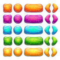 Cartoon colorful jelly buttons with bubbles inside Royalty Free Stock Photo