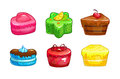 Cartoon colorful sweet cakes set.