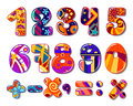 Cartoon colourful school numbers for mathematics or another childish design Stock Images