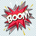 Cartoon comic graphic design for explosion blast dialog box background with sound BOOM. Royalty Free Stock Photo