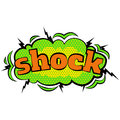 Cartoon comic shock bubbles labels with text and elements with halftone shadows, retro cartoon vector pop art