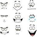 Cartoon comics face doodle set illustration Stock Photography