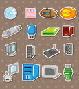 Cartoon computer stickers Royalty Free Stock Image