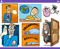 Cartoon concepts and ideas set illustration of humorous or metaphors with funny characters Royalty Free Stock Image