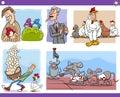 Cartoon concepts and sayings set Royalty Free Stock Photo