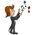 Cartoon conductor with notes in black tailcoat vector illustration Stock Photos