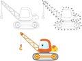 Cartoon Construction Crane. Ve...