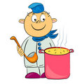 Cartoon cook in kitchet  illustration. Royalty Free Stock Photos