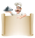 Cartoon cook menu scroll a friendly with a moustache holding a silver platter or cloche pointing at a banner or Royalty Free Stock Photo