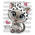 Cartoon Kitten with a butterflies on striped background