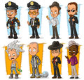 Cartoon cool policeman and gangsters character vector set