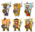 Cartoon cool warriors with shield and spear character vector set