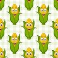 Cartoon Corn Cob Seamless Pattern