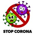 Stop Corona cartoon style sign, angry and dead Covid-19