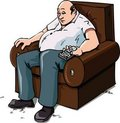 Cartoon of a Couch Potatoe Royalty Free Stock Images