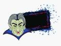 Cartoon Count Dracula , grunge Halloween frame
