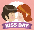 Cartoon Couple Kissing behind a Commemorative Kiss Day Ribbon, Vector Illustration