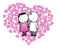 Cartoon couple in love heart Stock Images