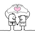 Cartoon couple making heart sign with their hands
