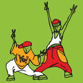 Cartoon couple of young rappers in rapper clothes dancing