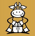 Cartoon cow with gift Royalty Free Stock Images