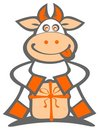 Cartoon cow with gift Royalty Free Stock Photos