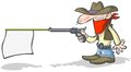 Cartoon cowboy holding a banner gun. Stock Photo