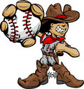 Cartoon Cowboy Kid Baseball Player Holding Ball Stock Images