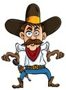 Cartoon cowboy ready to draw. Stock Image