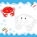 Cartoon crab isolated on white coloring book vector illustration Stock Photos