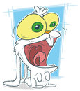 Cartoon crazy funny white rabbit
