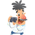 Cartoon crazy photographer character click on dslr camera taking