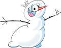stock image of  Cartoon crazy snowman.