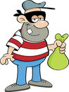 Cartoon criminal illustration of a holding a money bag Stock Image