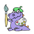 Cartoon croc artist painter with brush and palette of colors. Vector illustration.