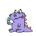 Cartoon croc wants ice cream. Vector illustration.