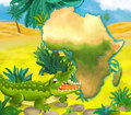 Cartoon crocodile with continent map