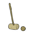 Cartoon croquet mallet and ball hand drawn illustration in retro style vector available Stock Photo