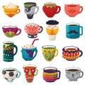 Cartoon cup vector kids creative mugs coffee or tea cupful on breakfast various shapes of coffeecup illustration set of Royalty Free Stock Photo
