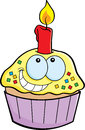 Cartoon cupcake with a candle illustration of Royalty Free Stock Photo