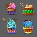 Cartoon cupcake. Vector illustration.