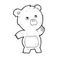Cartoon curious teddy bear black and white line in retro style vector available Stock Photo